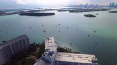 Flamingo Miami Beach aerial video Stock Footage