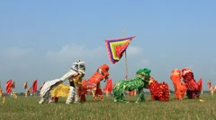 People dance lion in festival, Asia Stock Footage