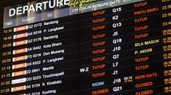 Departure board in KLia2 airport terminal,Kuala Lumpur,Malaysia Stock Footage
