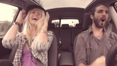 Stock Video Footage of young hipster couple dancing in car vintage look