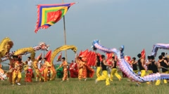 Dragon dancers in traditional festivals, Asia Stock Footage