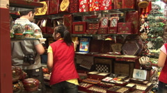 Tourists in Beijing Silk Market, China Stock Footage