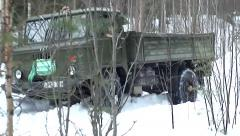 Truck on the snow off road. Stock Footage