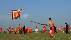 Performing martial arts in traditional festivals Stock Footage