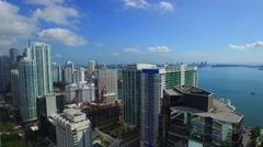 Flying through Brickell aerial video 2 Stock Footage