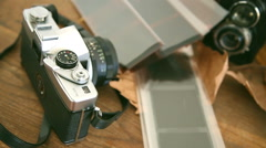 Still life of and old retro vintage camera Stock Footage
