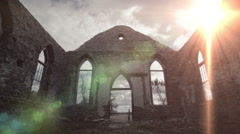 Amazing God Rays of Light Into an Abandoned Old Church Ruins Stock Footage