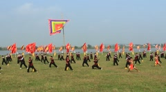 performing martial arts in traditional festivals, Asia - stock footage