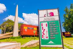 SANTA CLARA, CUBA - SEPTEMBER 08, 2015: This train packed with government Stock Photos