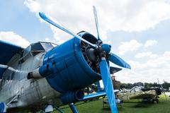 plane with propeller in Aviation Museum in Krakow - stock photo