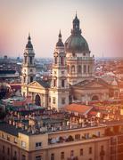 view on Cupola of Basilica of saint Istvan - stock photo