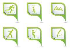 Winter sport icons set on green map pointers - stock illustration