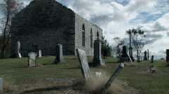 Time Lapse of Abandoned Church and Cemetery Stock Footage