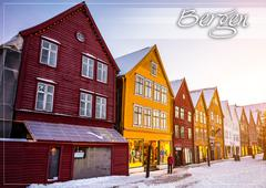 postcard with Bergen at Christmas - stock photo