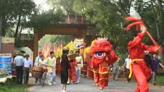 People dance lion in festival,Asia Stock Footage