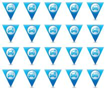 Set-of 20 cars wit signs triangular map pointer - stock illustration
