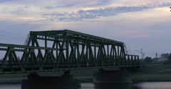 Rairoad Bridge on The Supports Bridge With Metal Structures Bridge upon the Stock Footage