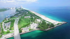 Haulover Park Miami Beach aerial video Stock Footage