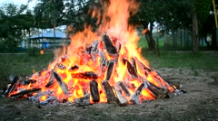 One big bonfire and a piece of wood falls in the meadow Stock Footage