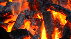 Embers and the fire close-up Stock Footage