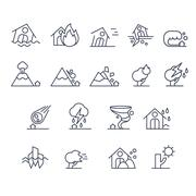 House Insurance Icon Set in Linear Style. Vector Illustration - stock illustration