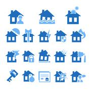 Property and House Insurance Icon Set. Vector illustration. Flat Design - stock illustration