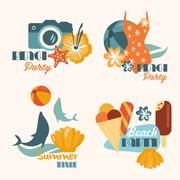 Set of Beach Party and Summer Time Vacation Vector Illustrations in Flat Style Stock Illustration