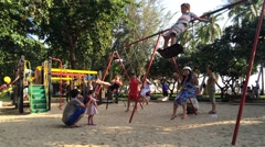 Timelapse of children in the park in Vung Tau Stock Footage