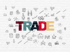 Business concept: Trade on wall background - stock illustration