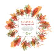 Autumnal round frame. Wreath of autumn leaves - stock illustration