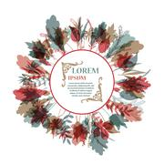 Autumnal round frame. Wreath of autumn leaves Stock Illustration
