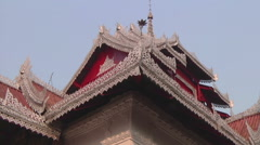 Buddhist monastery roof in Myanmar. Stock Footage