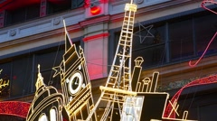Christmas Showcase With Big Funny Doll, Outdoors In Paris Stock Footage