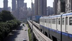 Light rail train in Chongqing Stock Footage