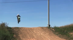 Stock Video Footage of Jumping motocross racer