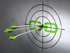 Stock Illustration of Web development concept: arrows in Link target on wall background