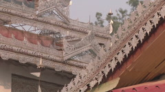Ornamental tower in the monastery, Myanmar. - stock footage
