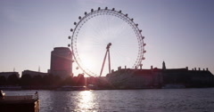 LONDON, UK - OCT 2015: London Eye early in the morning. Shot on RED Epic. Stock Footage