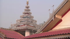 Ornamental tower in the monastery, Myanmar. - stock footage