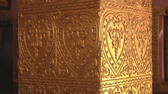 Golden ornament on the monastery column, Myanmar. Stock Footage