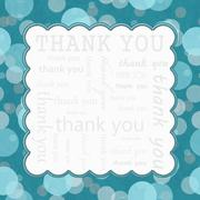 Teal  Polka Dot Thank You Frame Background Stock Illustration