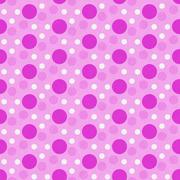 Pink and White Polka Dot Tile Pattern Repeat Background Stock Illustration