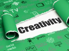 Stock Illustration of Advertising concept: black text Creativity under the piece of  torn paper