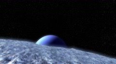 Aerial over alien moon Triton surface and planet Neptune in background Stock Footage