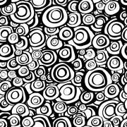 Seamless loop spiral concentric circles background in black and white Stock Illustration