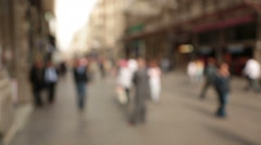 Out of focus background and unrecognizable people walking in Istiklal Street Stock Footage
