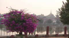 Embankment in the Kengtung city, Myanmar. Stock Footage