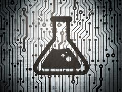 Science concept: circuit board with Flask - stock illustration