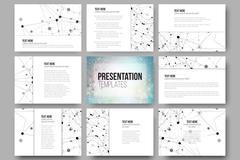Set of 9 templates for presentation slides. Molecular structure design, blue - stock illustration