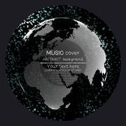 Music album cover templates. World globe, global network. Molecule structure - stock illustration